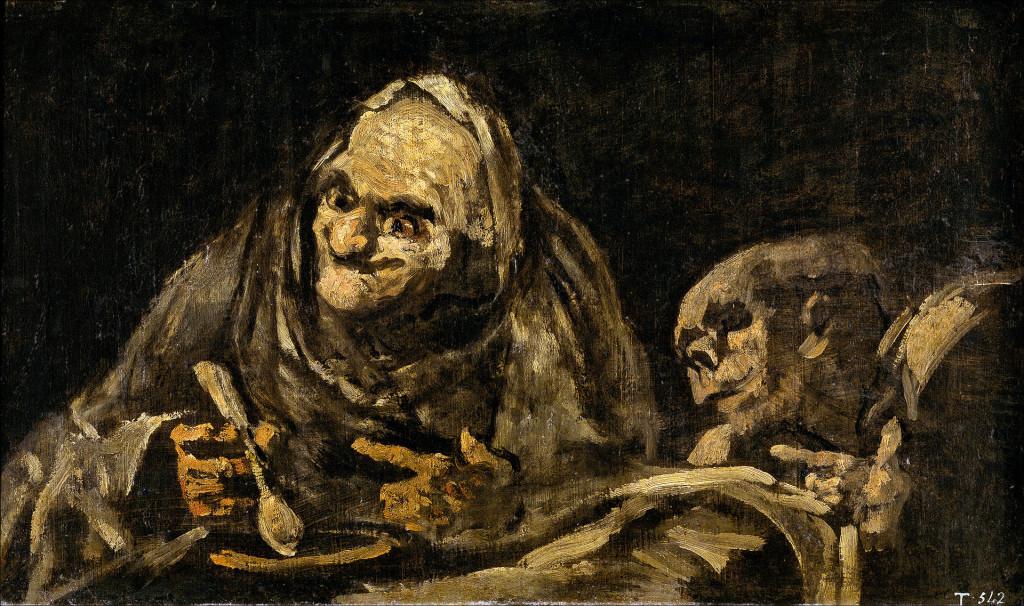 Un vecchio che mangia la minestra  Dipinto di F. Goya del Periodo Nero