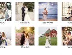 Le thumbnails di due dei più noti blog americani sul matrimonio nella sezione 'real weddings'.